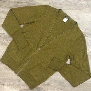 J Crew Merino Wool Zip Down Cardigan Sweater